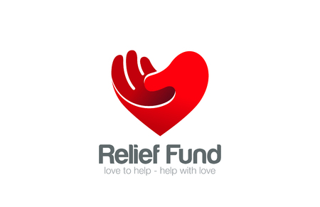 Illustration for Heart Hand Logo Relief Fund vector design template. Take my Heart Love Valentine day concept Logotype icon. - Royalty Free Image