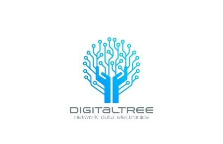 Ilustración de Digital Tree Logo Network technology business design vector template. Chip Electronics logotype concept. Circuit circle icon. - Imagen libre de derechos