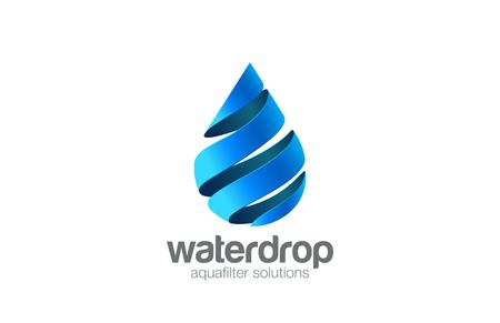 Ilustración de Oil Water drop Logo aqua vector template. Waterdrop Logotype. Droplet 3d spiral shape design element. - Imagen libre de derechos