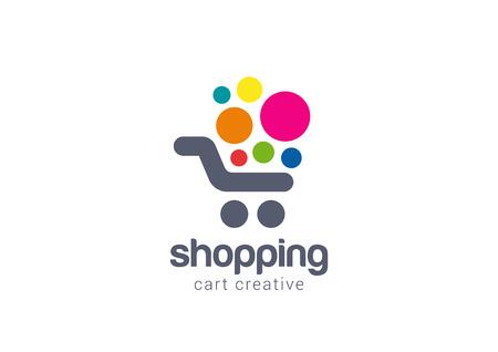Ilustración de Shopping cart Logo design vector template concept icon. Logotype for online store, mall, sale etc. - Imagen libre de derechos