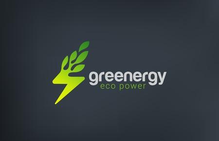 Ilustración de Green Eco Energy Logo design vector template. Flash as Plant ecology power logotype concept icon - Imagen libre de derechos