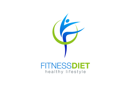 Foto de Fitness Diet Healthy Lifestyle Logo design vector template. Gymnastic with health nutrition Logotype concept. Girl dancing icon. - Imagen libre de derechos