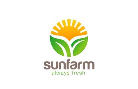 Illustration pour Sun over Plant Logo Farm circle shape design vector template. Fresh Eco food Logotype concept. Farm Products shop icon. - image libre de droit