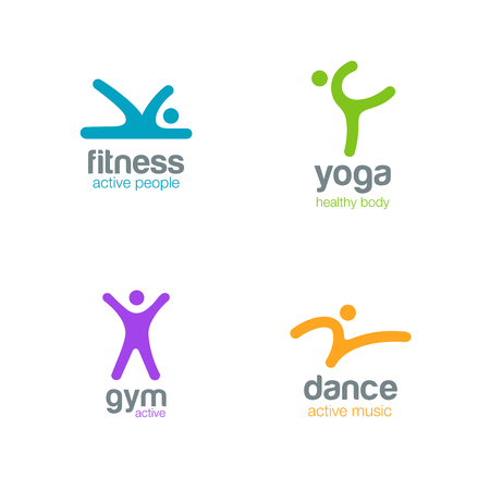 Fitness Dance Yoga Gym Logos design vector templates. Active sports colorfull creative simple logotype icons.
