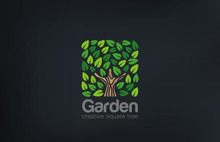 Ilustración de Abstract Green Tree Logo Square shape design vector template.  Green Farm Garden Logotype icon. Eco concept. - Imagen libre de derechos