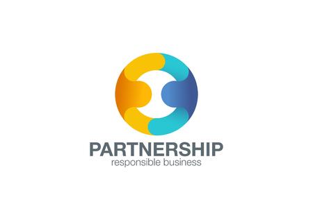 Ilustración de Partnership Logo design vector template with abstract characters. People holding hands in circle Friendship, Partnership, Cooperation, Team work logotype concept icon. - Imagen libre de derechos