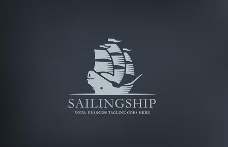 Illustration pour Vintage Sailboat abstract Logo design vector template. Retro style ship middle age Sailing Logotype. - image libre de droit