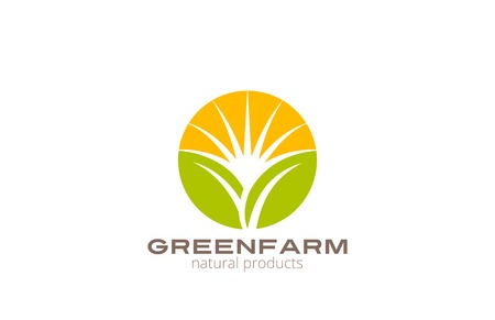 Illustration pour Sun over Abstract Plant Logo Farm design vector template circle shape. Natural Organic Fresh products Logotype concept icon. - image libre de droit