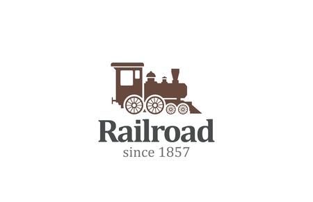 Illustration pour Vintage Retro Railroad Train Locomotive Logo design vector template. Travel Railway Logotype concept icon. - image libre de droit
