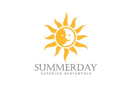 Ilustración de Sun Logo design vector template. Day Night Sun Moon Logotype concept icon. - Imagen libre de derechos