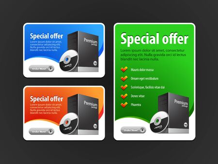 Illustration pour Special Offer Banner Set Vector Colored: Blue, Red, Green. Showing Products Purchase Button - image libre de droit
