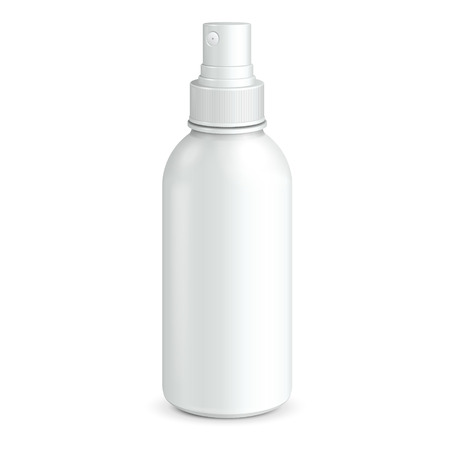 Illustration pour Spray Cosmetic Parfume, Deodorant, Freshener Or Medical Antiseptic Drugs Plastic Bottle White  Ready For Your Design  Product Packing  - image libre de droit