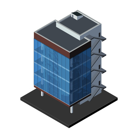 Illustration pour Business Center Building, Office, For Real Estate Brochures Or Web Icon  Isometric Vector EPS10  - image libre de droit