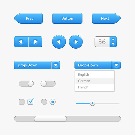 Illustration pour Blue Light User Interface Controls  - image libre de droit