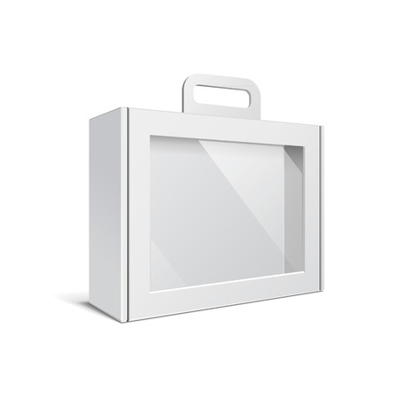 Illustration pour Carton Or Plastic White Blank Package Box With Handle. Briefcase, Case, Folder, Portfolio Case. Illustration Isolated On White Background. Ready For Your Design. Product Packing Vector EPS10 - image libre de droit