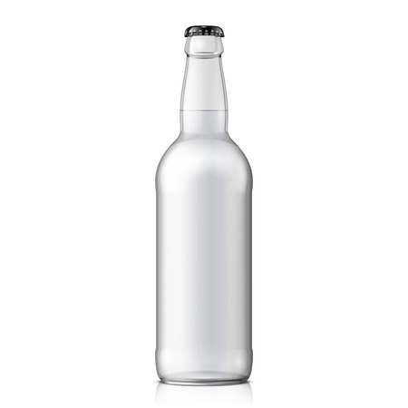 Illustration for Mock Up Glass Beer Clean Bottle On White Background Isolated. - Royalty Free Image