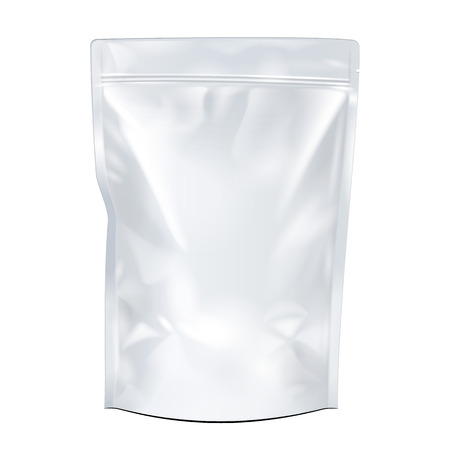 Illustration for White Mock Up Blank Foil Food Or Drink Doypack Bag Packaging. Plastic Pack Template Ready For Your Design. Vector EPS10 - Royalty Free Image