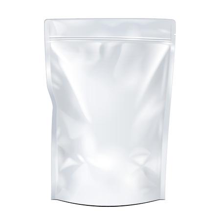 Ilustración de White Mock Up Blank Foil Food Or Drink Doypack Bag Packaging. Plastic Pack Template Ready For Your Design. Vector EPS10 - Imagen libre de derechos