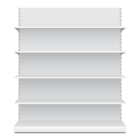 Illustration pour White Long Blank Empty Showcase Displays With Retail Shelves Front View 3D Products On White Background Isolated. Ready For Your Design. Product Packing. Vector EPS10 - image libre de droit