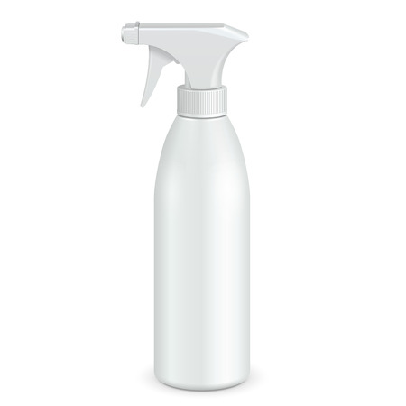 Illustration pour Spray Pistol Cleaner Plastic Bottle White. Illustration Isolated On White Background. Ready For Your Design. Product Packing. Vector - image libre de droit