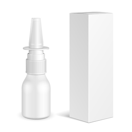 Illustration pour Spray Medical Nasal Antiseptic Drugs Plastic Bottle With Box. Common Cold, Allergies. Mock Up Ready For Your Design. Illustration Isolated On White Background. Vector EPS10 - image libre de droit