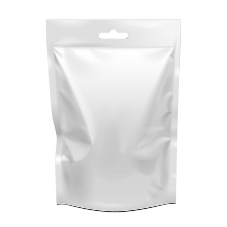 Ilustración de Blank Food Stand Up Flexible Pouch Snack Sachet Bag. Mock Up, Template. Illustration Isolated On White Background. Ready For Your Design. Product Packaging. Vector EPS10 - Imagen libre de derechos