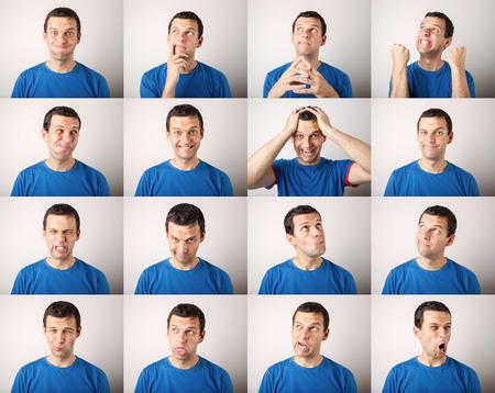 Foto de mosaic of young man expressing different face expressions - Imagen libre de derechos