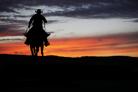 Photo for Cowboy silhouette on a horse during nice sunset - Royalty Free Image
