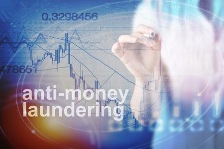 Photo pour Anti Money Laundering Concept image of Business Acronym AML (Anti Money Laundering) - image libre de droit