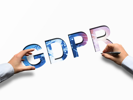 Photo for Businessman writing GDPR letters - concept of GRPR - general data protection regulation - Royalty Free Image