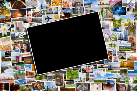 Photo for Postcard or photo template with a background of photos and postcards with several destinations from all over the world - Royalty Free Image