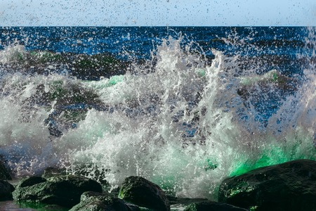 Photo for Summer ocean beach with green waves at sunny day - Royalty Free Image
