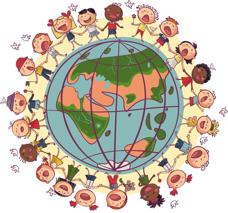 Illustration for Kids is dancing and singing in circle around earth - Royalty Free Image
