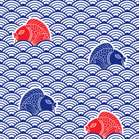 Illustration for Japanese traditional pattern with catfish and waves. Blue, res and white colors. Nautical background. Ceramic ornament. Vector art - Royalty Free Image