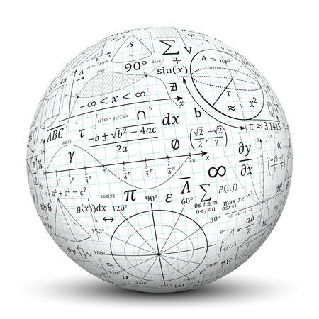 Photo for Mathematical formulary imprints on white Sphere.  - Royalty Free Image