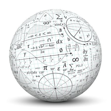 Photo pour Mathematical formulary imprints on white Sphere.  - image libre de droit