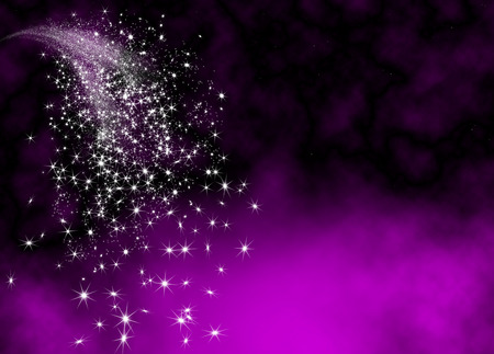 Photo for Abstract Bright and Glittering Falling Star Tail - Shooting Star with Twinkling Star Trail on Violet Background. Sparkling Starlets. - Royalty Free Image