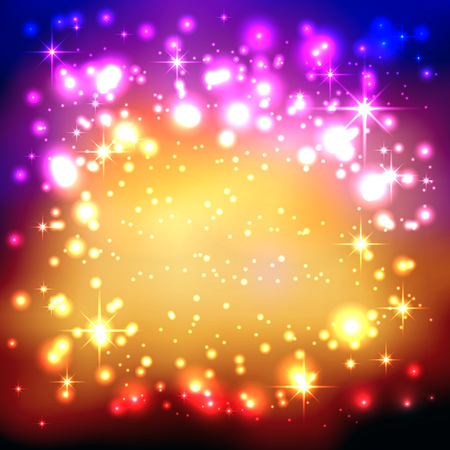 Illustration pour Colorful Gradient Background with Twinkling and Glittering Stars. Free Space for Advertising or Text. Greeting Card, Invitation Card. New Years Eve Celebration and Christmas Season Backdrop Template. - image libre de droit