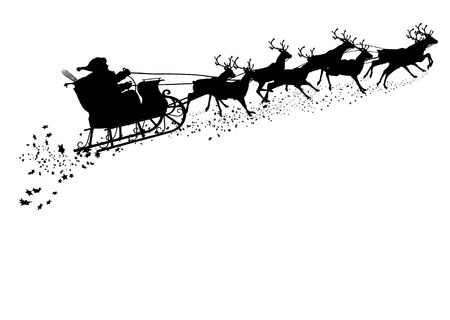 Illustration pour Santa Claus with Reindeer Sleigh - Black Silhouette - Outline Shape of Sledge, Sled - Holiday Season Symbol - Christmas, XMas, X-Mas. Greeting Card Template. - image libre de droit