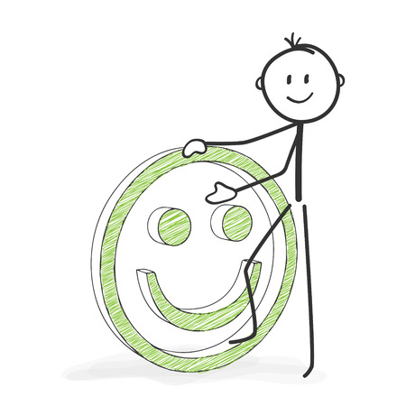 Illustrazione per Stick Figure in Action - Stickman with a Positive Smiley Icon. Stick Man Vector Drawing with White Background and Transparent, Abstract Three Colored Shadow on the Ground. - Immagini Royalty Free