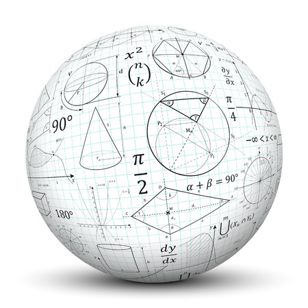 Photo pour 3D White Sphere with Smooth Shadow and Graph Paper Texture and Math Symbols - Isolated on White Background - image libre de droit
