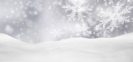 Abstract Silver Background Panorama Winter Landscape with Falling Filigree Snowflakes. Snowy Ground with Fresh Snow. Holiday Season Backdrop Template.