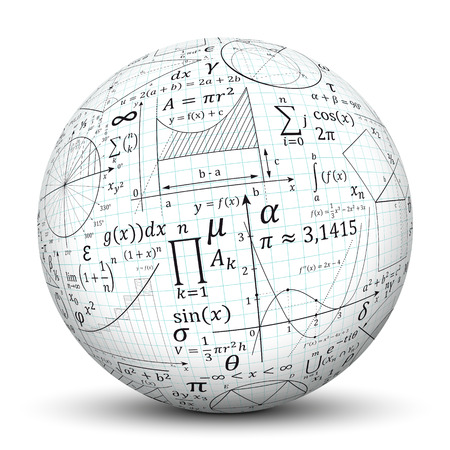 Photo for 3D White Sphere with Smooth Shadow and Graph Paper Texture and Math Symbols - Isolated on White Background - Royalty Free Image