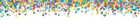 Illustration pour Very Long Horizontal Vector Panorama Banner with Raining Confetti and Free Space for Design Elements at the Bottom - Dots, Points, Deco, Polka Dots - Backdrop Falling Particle Design - Website Head - image libre de droit