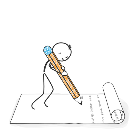 Illustration pour Stick Figure in Action - Stickman writes a letter with a Pencil Icon. Stick Man Vector Drawing with White Background and Transparent, Abstract Three Colored Shadow on the Ground. - image libre de droit