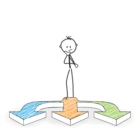 Illustration pour Stick Figure in Action - Stickman Has to Make a Decision. Three Arrows Icon. Stick Man Vector Drawing with White Background and Transparent, Abstract Three Colored Shadow on the Ground. - image libre de droit
