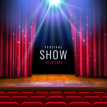 Illustration pour Theater wooden stage with red curtain, spotlight, seats.Vector festive template with lights and scene. Poster design for concert, theater, dance, event, show. Illumination and scenery decoration. - image libre de droit