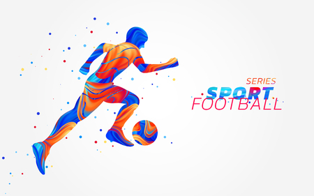 Illustration pour Vector football player with colorful spots isolated on white background. Liquid design with colored paintbrush. Soccer illustration with ball. Sports, athletics or competition theme. Winning concept. - image libre de droit