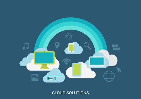Illustration pour Flat style vector illustration cloud computing solutions technology concept collage. Rainbow clouds computer tablet storage media file. Big flat conceptual collection. - image libre de droit