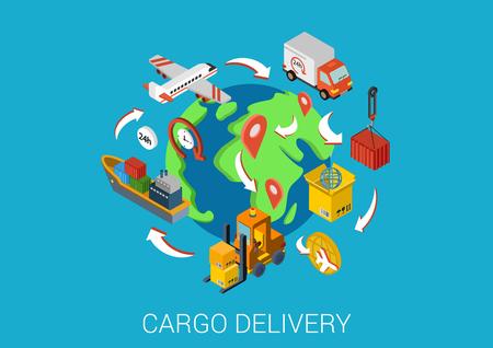 Illustration pour Logistics cargo delivery flat 3d isometric pixel art modern design concept vector. Worldwide shipment boat crate container loader barge van package web banners illustration website click infographics. - image libre de droit